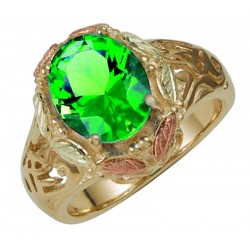 10K Black Hills Gold Ring with Mt. St. Helens Emerald - Size 8.5