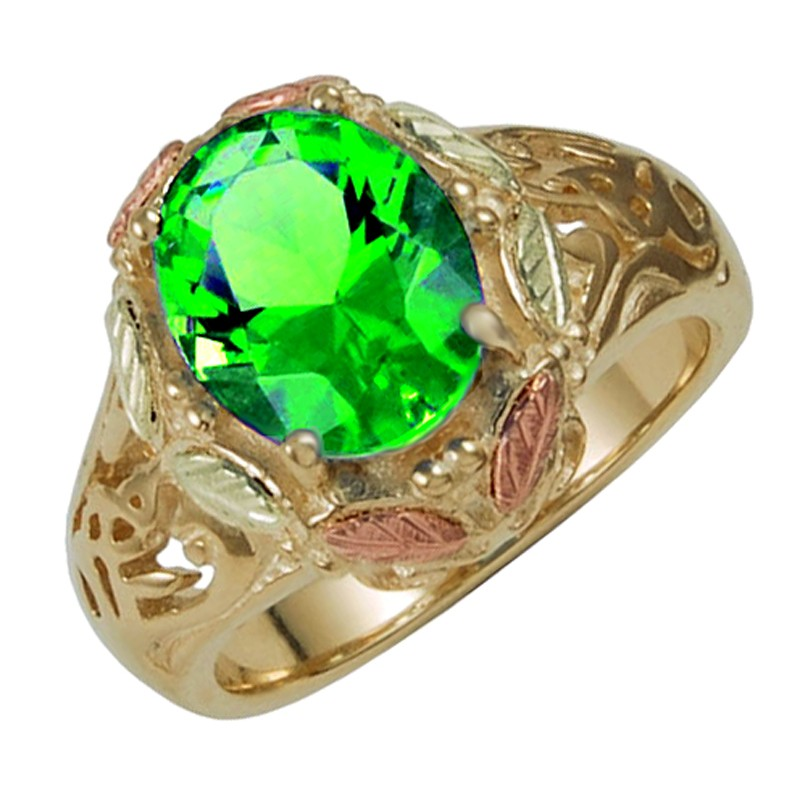 10k Black Hills Gold Ring With Mt St Helens Emerald