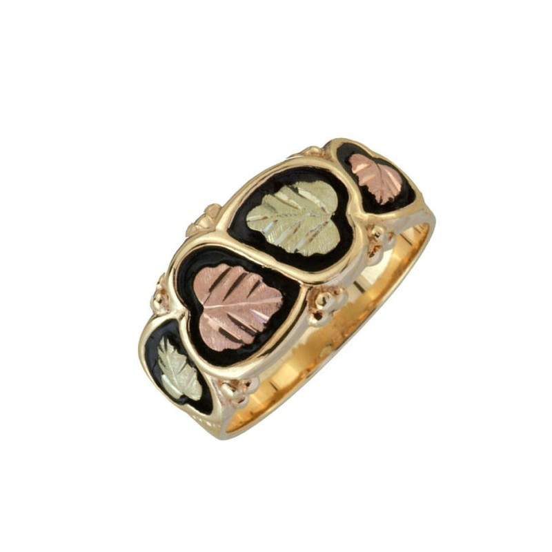 Black Hills Gold Antiqued Mens Wedding Ring