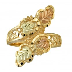 10K Black Hills Gold Wrap Ring With 12K Gold Leaves - Size 6
