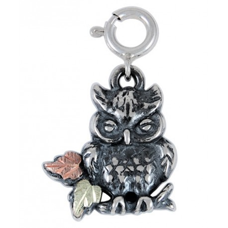 Black Hills Gold on Sterling Silver Owl Charm