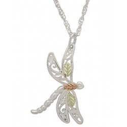 Small Black Hills Gold on Sterling Silver Dragonfly Pendant