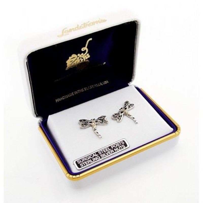 Black Hills Gold On Sterling Silver Dragonfly Earrings
