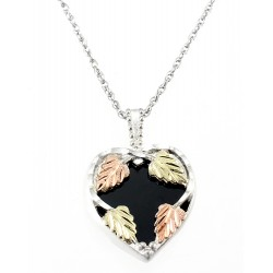 Landstrom's® Black Hills Gold on Sterling Silver Onyx Heart Pendant
