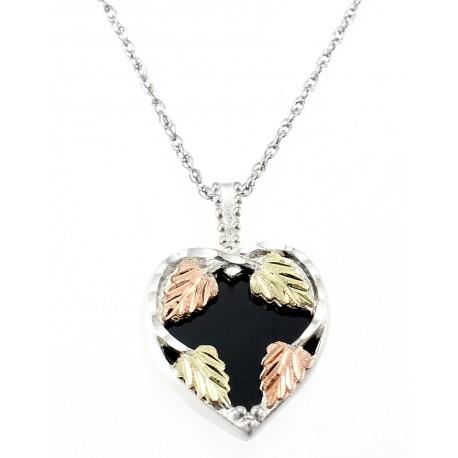 Landstrom's® Black Hills Gold on Sterling Silver Onyx Heart Pendant