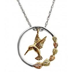 Landstrom's® Black Hills Gold on Sterling Silver Circle Pendant w 10K Gold Hummingbird