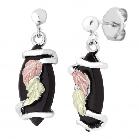 Landstroms Black Hills Gold on Silver Earrings with Onix