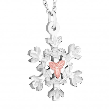 BLACK HILLS GOLD  STERLING SILVER SNOWFLAKE LADIES PENDANT NECKLACE