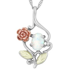 Black Hills Gold Sterling Silver Opal Pendant with 10K Rose