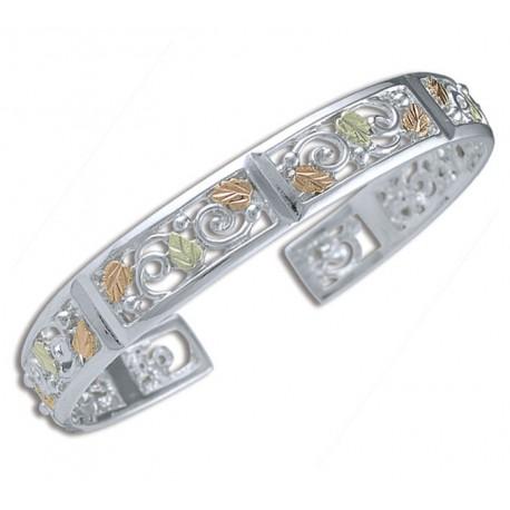 Landstrom's® Black Hills Gold on Sterling Silver Vines & Leaves Cuff Bracelet