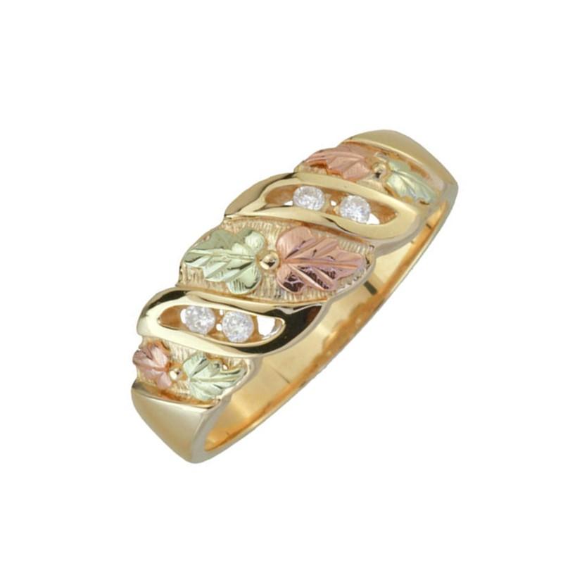 Black Hills Gold Mens .08 Tw Diamond Wedding Ring
