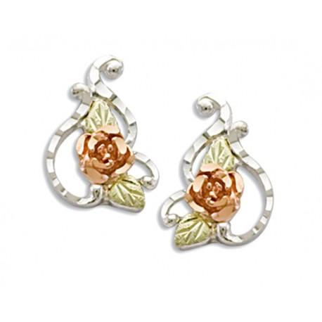 Lovely Black Hills Gold on Sterling Silver Rose Earrings by Landstrom's®