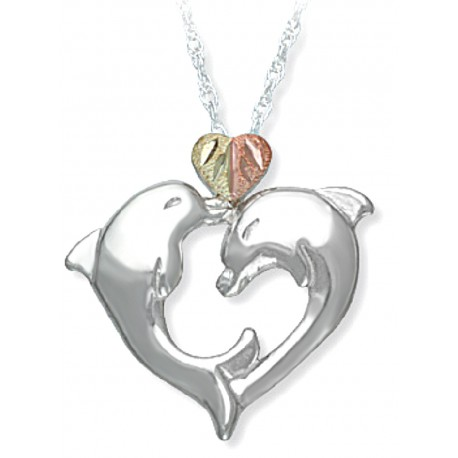 BLACK HILLS GOLD STERLING SILVER LADIES DOLPHIN HEART PENDANT NECKLACE