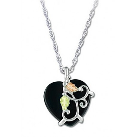 BLACK HILLS GOLD  STERLING SILVER ONYX HEART PENDANT NECKLACE HEART