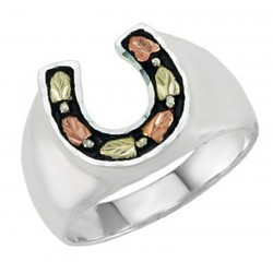 Landstrom's® Black Hills Sterling Silver Men's Horseshoe Ring with 12k Gold Leaves Size 12