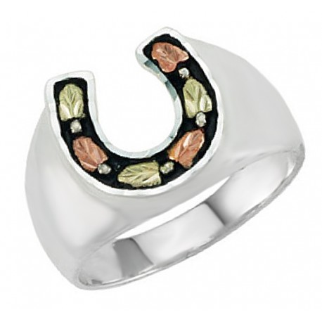 Black Hills Sterling Silver Men's Horseshoe Ring with 12k Gold Leaves