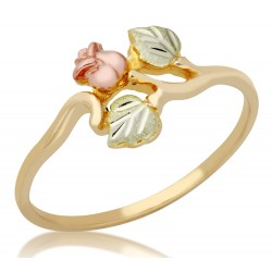 Mt Rushmore 10K Black Hills Gold Rose Ring with Leaves