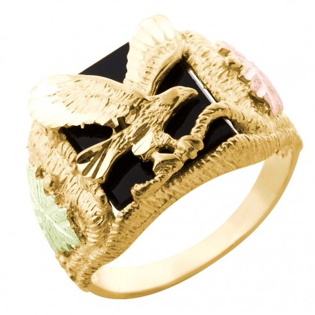 Mt Rushmore 10K Black Hills Gold Men's Eagle Ring w Onyx