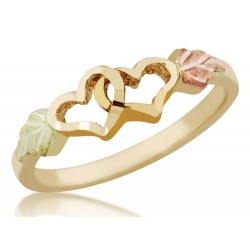 Mt Rushmore 10K Black Hills Gold Double Heart Ladies Ring
