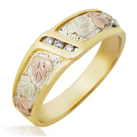 Mt Rushmore 10K Black Hills Gold Men`s Diamond Ring