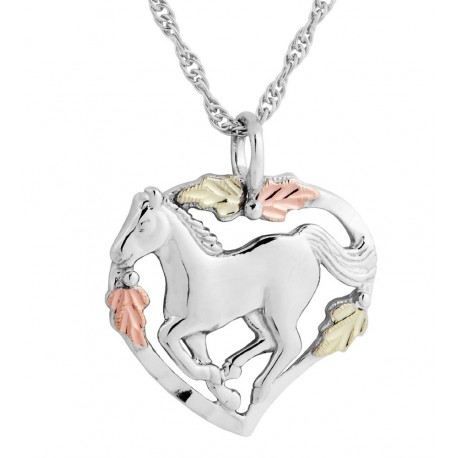 Black Hills Gold Sterling Silver Horse Necklace