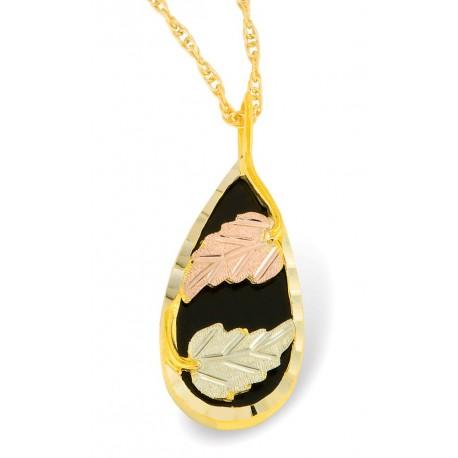 Mt Rushmore 10K Black Hills Gold Pear Shaped Onyx Pendant