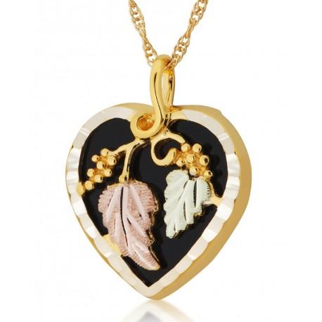 Mt Rushmore 10K Black Hills Gold Heart Shaped Onyx Pendant