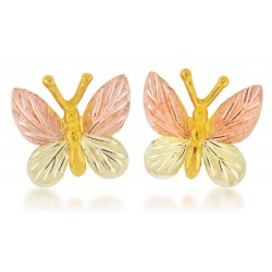 Mt Rushmore 10K Black Hills Gold Butterfly Earrings
