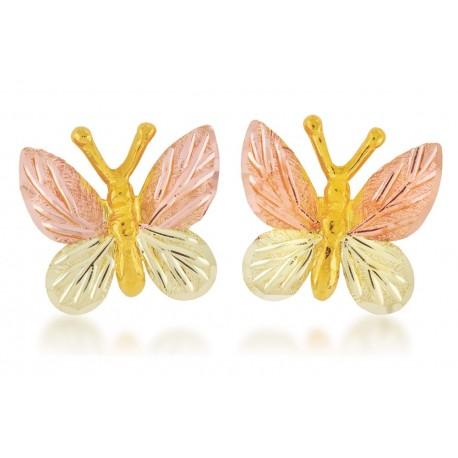Mt Rushmore 10K Black Hills Gold Butterfly Earrings