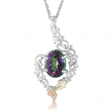 Landstrom's® Black Hills Gold on Silver Ladies Mystic Fire Topaz Pendant - Necklace