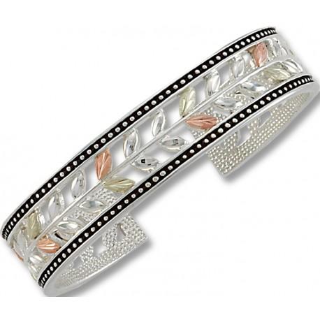 Landstrom's® Stylish 12k Black Hills Gold Leaves on Sterling Silver Cuff Bracelet