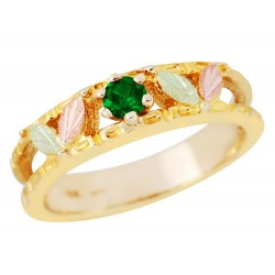 Landstrom's® 10K Black Hills Gold Ladies Band Ring with Emerald
