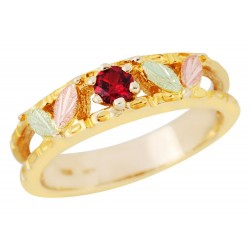 Landstrom's® 10K Black Hills Gold Ladies Band Ring with Ruby