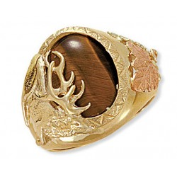 Landstrom's® Men's 10K Gold Elk Ring with Tiger Eye or Black Onyx Gemstone