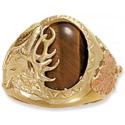 Landstrom's® Men's 10K Gold Elk Ring with Tiger Eye or Black Onyx Gemstone