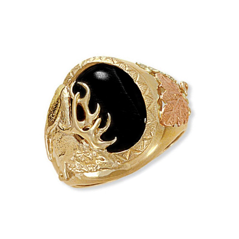 Landstrom S 174 Men S 10k Gold Elk Ring With Tiger Eye Or