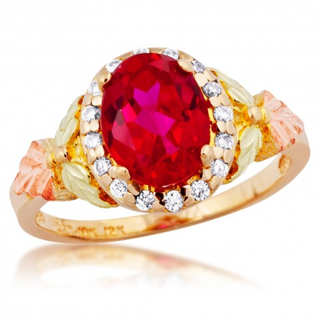 Stunning Tri-color 10K Black Hills Gold Lab-Created Ruby Ring with Diamond