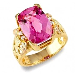 Stunning Tri-color 10K Black Hills Gold Lab-Created Pink Sapphire & Diamond Ring