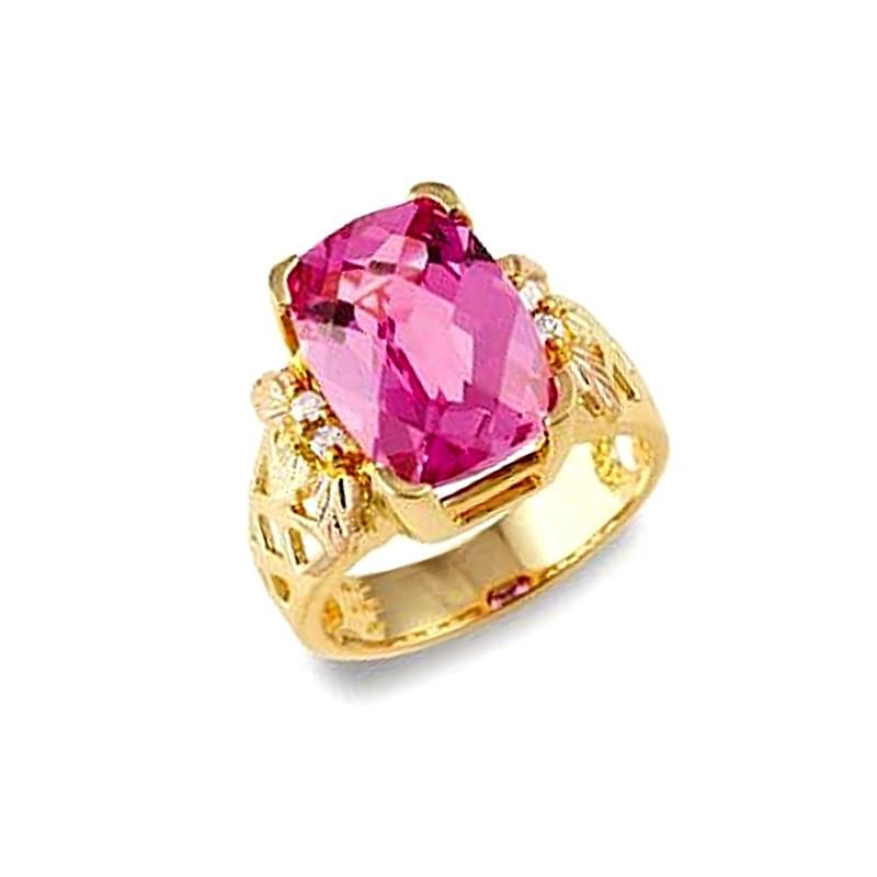 Stunning 10k Black Hills Gold Lab Created Pink Sapphire