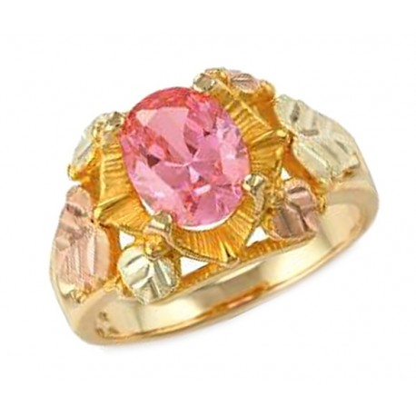 Stunning 10K Black Hills Gold Lab-Created Pink Sapphire & Diamond Ring