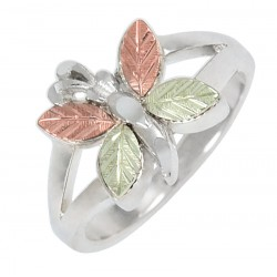 Size-10 Coleman Sterling Silver Butterfly Ring With 12K Gold
