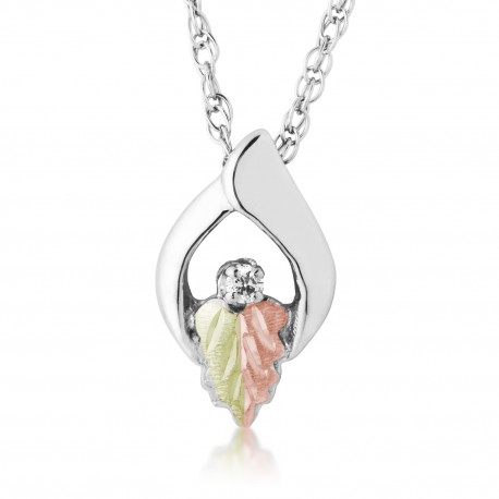 12K Black Hills Gold on Sterling Silver Pendant with Diamond