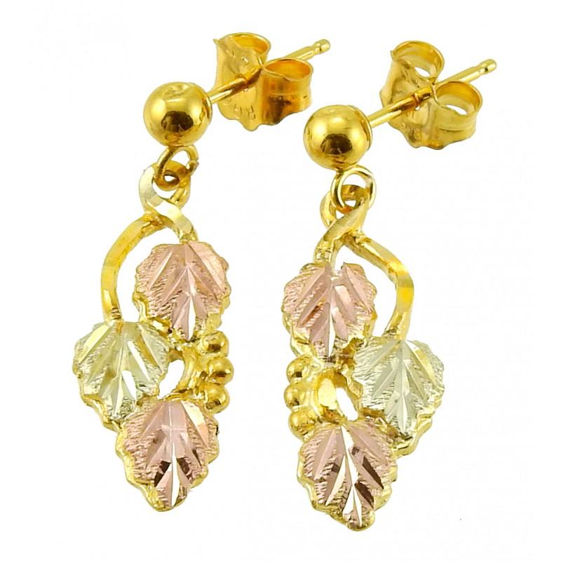 Landstrom S 174 10k Black Hills Gold Dangle Leaves Earrings