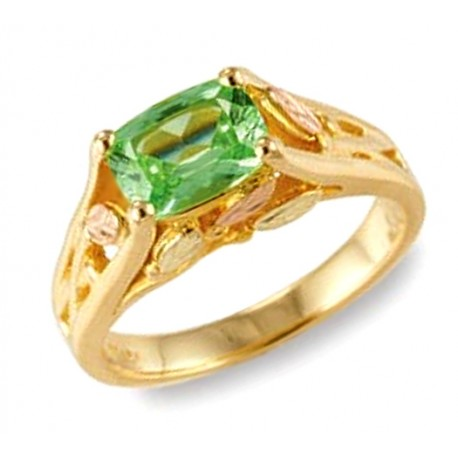 10K Black Hills Gold Lab-Created Green Sapphire Ring by Mt. Rushmore