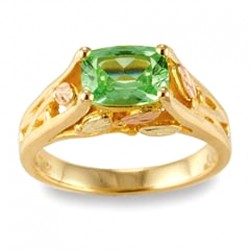 10K Black Hills Gold Ring with Lab-Created Green Sapphire by Mt. Rushmore
