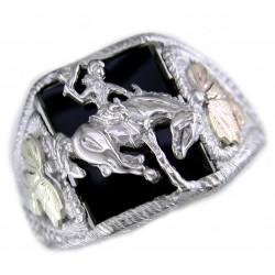 Mens Black Hills Gold on Sterling Silver Onyx Ring w/ Bronc Rider