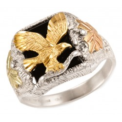 Mens Black Hills Gold and Sterling Silver Eagle Ring with Onyx