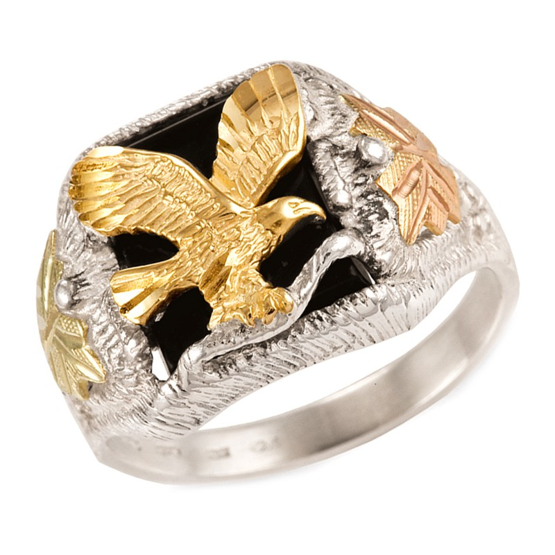 Mens Black Hills Gold Eagle Ring