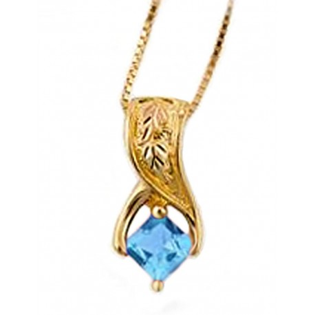 Mt Rushmore 10K Black Hills Gold Blue Topaz Pendant