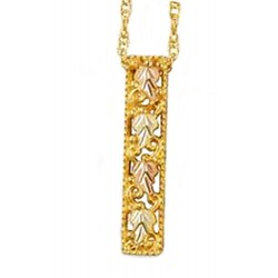 Mt Rushmore 10K Black Hills Gold Pendant w 12K Gold Leaves